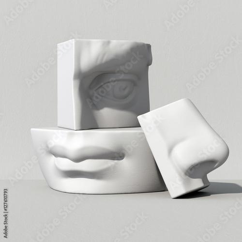 Foto  3d übertragen, digitale Illustration, abstrakte Alabasterblöcke, Auge, Nase, Lip