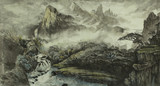 Chińskie góry, wodospad i mały dom - 127616345