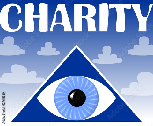 Charity Flyer With A Symbol Of Gods Eye In Triangle Blue