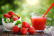 Strawberry In Bowl And Juice