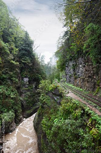 Poster Kaki Railroad at the cliff