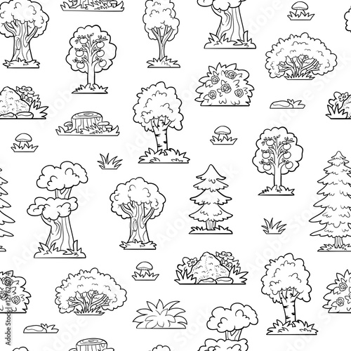 Fotografie, Tablou Vector colorless seamless pattern, trees and bushes
