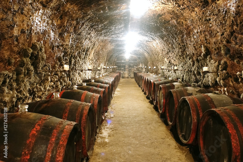 Barrels in wine cave.