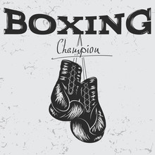Old Label With Boxing Gloves
