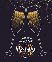 Happy New Year 2017 Background With Glasses Of Champagne. Vector Illustration Eps 10 Format