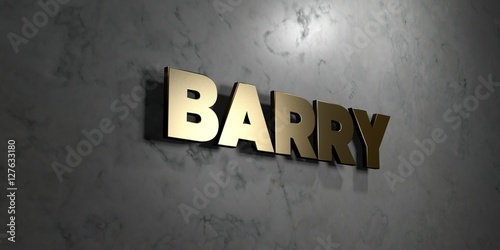 Barry - Gold sign mounted on glossy marble wall  - 3D rendered royalty free stock illustration Wallpaper Mural