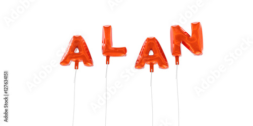 ALAN - word made from red foil balloons - 3D rendered Poster