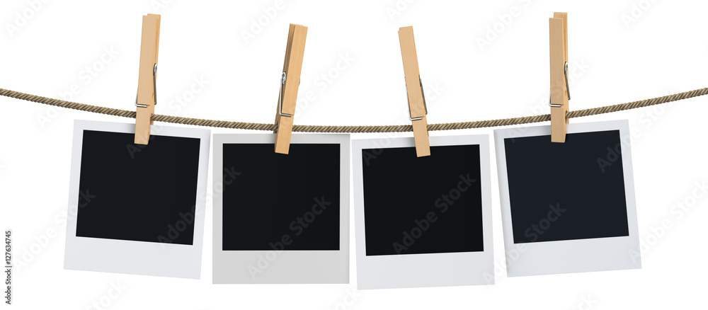 Fototapety, obrazy: Blank instant photo hanging on the clothesline, 3D rendering
