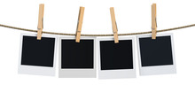Blank Instant Photo Hanging On The Clothesline, 3D Rendering