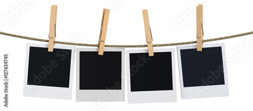 Valokuva Blank instant photo hanging on the clothesline, 3D rendering