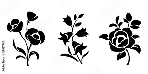 Foto Three vector black silhouettes of flowers isolated on a white background