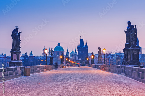 Garden Poster Prague Charles bridge, Prague, sunrise scene, Winter season, snowy weather. Christmas time.