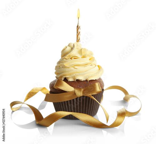 Photo  Birthday cupcake and ribbon on white background