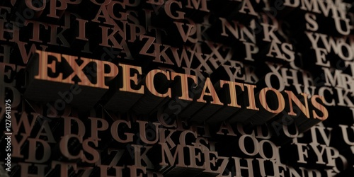 Fotografie, Obraz  Expectations - Wooden 3D rendered letters/message