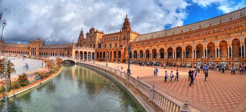 Cadres-photo bureau Artistique Colorful panoramic HDR image of Plaza de Espana in Seville, Spain in 2016