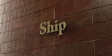 Ship - Bronze Plaque Mounted On Maple Wood Wall  - 3D Rendered Royalty Free Stock Picture. This Image Can Be Used For An Online Website Banner Ad Or A Print Postcard.