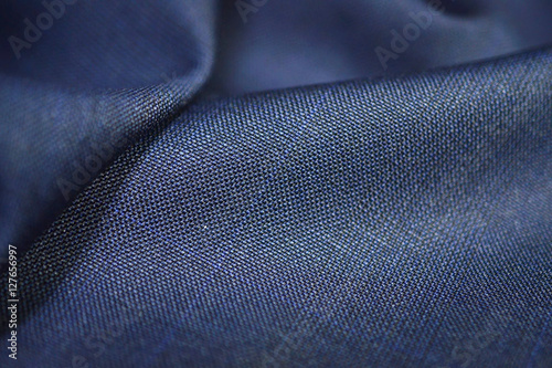 Türaufkleber Stoff close up texture blue fabric of suit