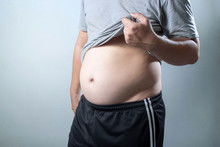 Portrait Of A Asian Fat Man Show Out His Body And Big Belly.