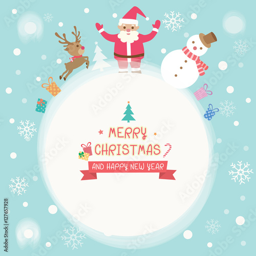 merry christmas and happy new year card with cute santa claus reindeer snowman and
