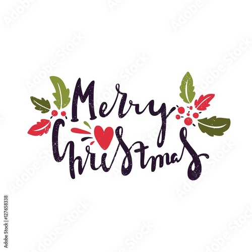 Drawings Of Christmas Decorations.Hand Drawing Text For Merry Christmas Christmas Decorations