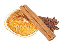 Dried Orange, Anise And Cinnamon Sticks Isolated On White Backgr
