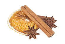 Dried Orange, Anise And Cinnamon Sticks Isolated On White