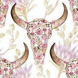 Watercolor seamless pattern with skull, peony, protea. Decoration motif for tattoo, wallpaper, wrapping, cards, halloween decor.  - 127665599