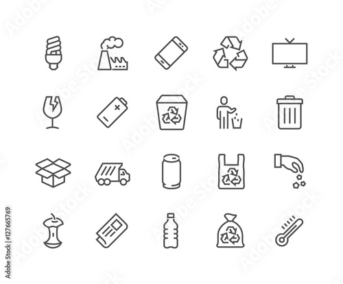 Line Garbage Icons Wall mural