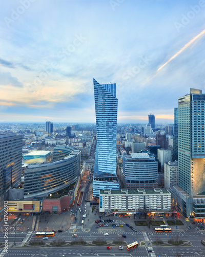 Fototapety, obrazy: Evening view of Warsaw modern business district from viewpoint of Culture and science palace