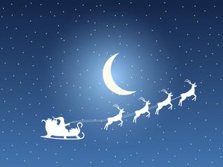 Obraz na płótnie Canvas Santa Claus in a sleigh on a background of the moon and stars. Santa's sleigh. Vector illustration.
