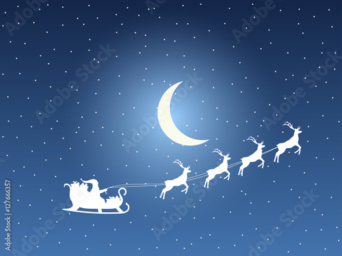 Santa Claus in a sleigh on a background of the moon and stars. Santa's sleigh. Vector illustration.