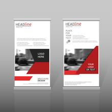 Red Roll Up, Business Brochure Template. Vertical Banner Design.