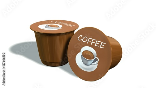 Fotografia  disposable coffee capsules isolated on a white background