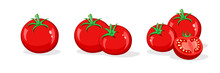 Tomato Set. Whole And Half Cut Tomatoes Isolated On White Background. Vector Cartoon Illustration. Fresh Red Vegetable, Vegetarian, Vegan Healthy Organic Food