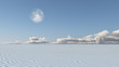 White Sand Flat Desert with Moon Some elements provided courtesy of NASA