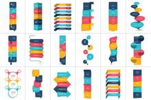 Mega Set Of Option Step By Step Vertical Schedule, Tab, Banner, Bar. Vector Design Infographic.