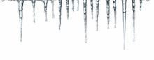 Close Up Of Icicles Isolated On White Background