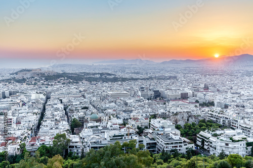 View over the Athens from Lycabettus hill at sunset, Greece
