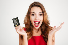 Happy Excited Amazed Young Woman Holding Credit Card