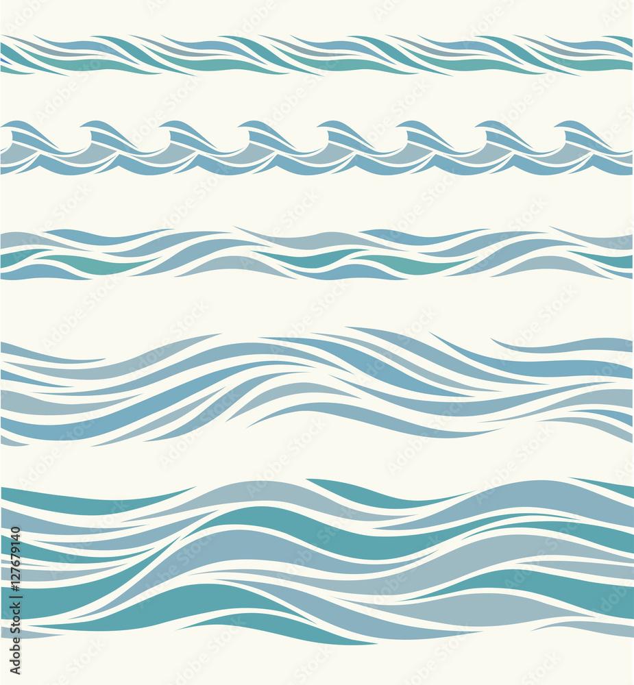 Fototapety, obrazy: Set seamless pattern with stylized blue waves