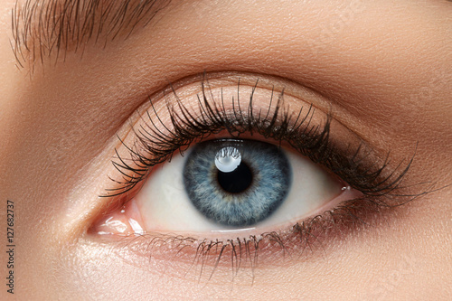 Poster Iris Close up view of beautiful blue female eye