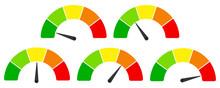 Bewertung Barometer Umfrage Werte Neutral Von Grün Bis Rot In Fünf Stufen