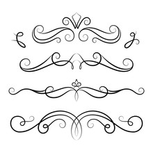 Set Of Vintage Calligraphic Vignettes