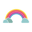 silhouette colorful with rainbow and clouds vector illustration