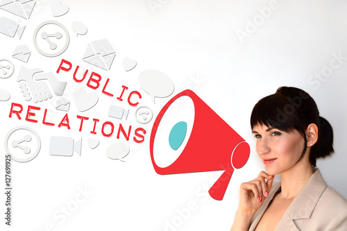 Fotografía  Public relations, PR concept on white background