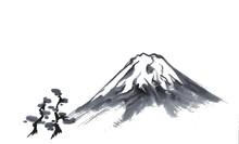 富士山と松林(水墨画)三保の松原