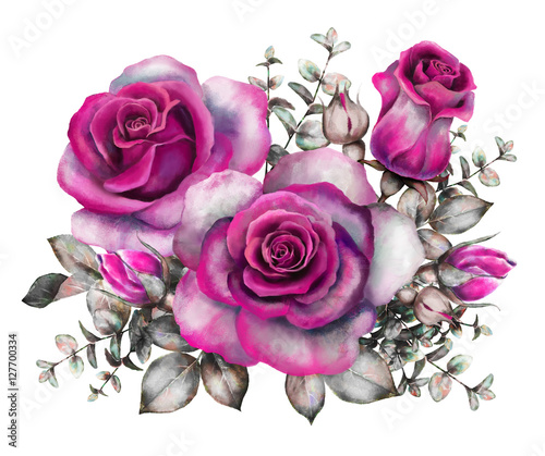 Watercolor Flowers Romantic Floral Illustration Purple Rose Branch Of Isolated On White