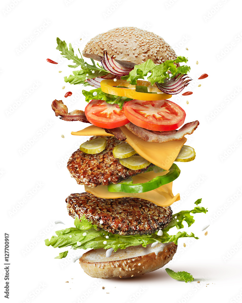 Fototapety, obrazy: burger with flying ingredients