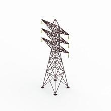 Power Transmission Tower. 3D Rendering Illustration.Isometric Vi