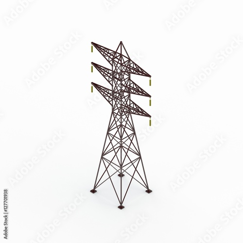 Valokuva  Power transmission tower. 3D rendering illustration.Isometric vi